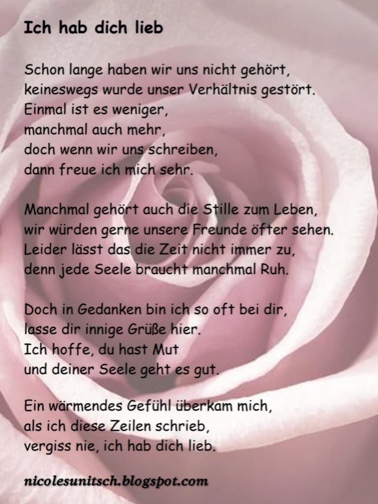 Gedichte von Nicole Sunitsch - Autorin : Ich hab dich lieb