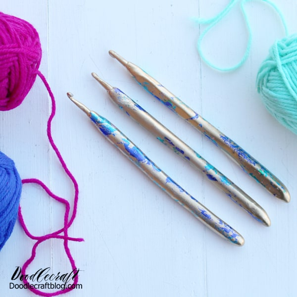 Do you crochet or know someone that does?  Crochet hooks are not especially comfortable and this craft makes them more comfy to use–plus more fashionable!  These hooks will make a uniquely great gift for a yarn crafter.