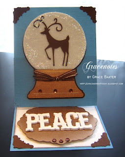 deer snow globe easel card front