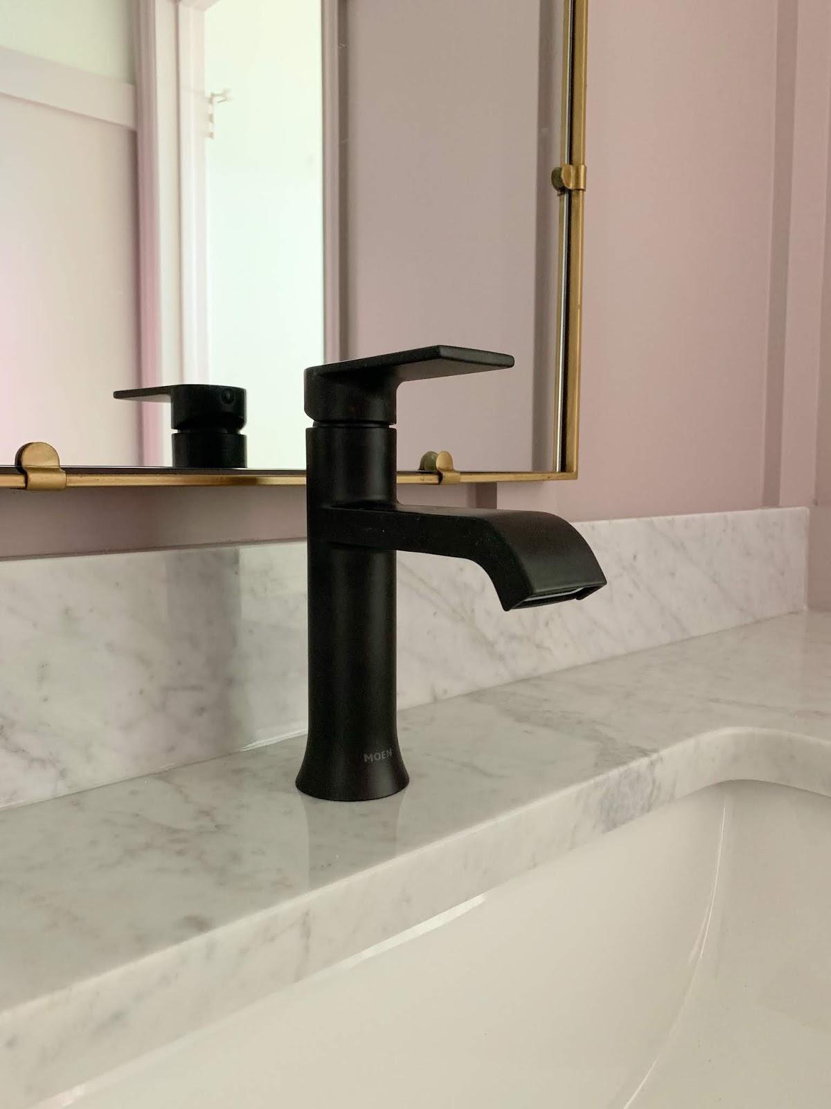 Moen genta faucet matte black | Primp and Pamper Bathroom Makeover sponsored by Signature Hardware and Build.com | House Homemade