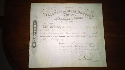 Telegraph To India Company, 1862 share certificates