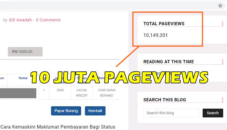 Total Pageviews (PV) Blog Sis Hawa Kini Melepasi 10 Juta! Alhamdulillah