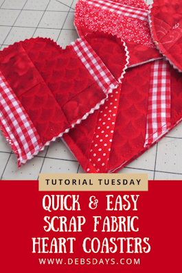 Quick & Easy Scrap Fabric Heart Drink Coasters Sewing Project