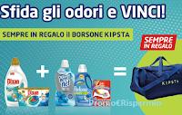 Logo ''Sfida gli odori e vinci Kipsta'': in regalo certo il pratico borsone