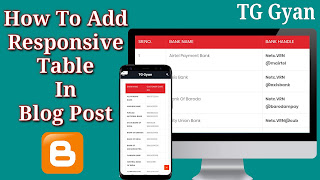 How To Add Responsive Table In Blogger Blog Post