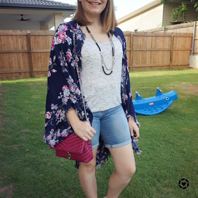 floral cocoon kimono space dye tee bermuda denim shorts rebecca minkoff edie bag | awayfromblue Instagram