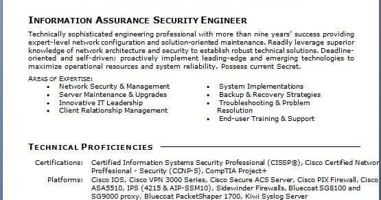 Information Assurance Security Engineer Sample Resume Format in Word
