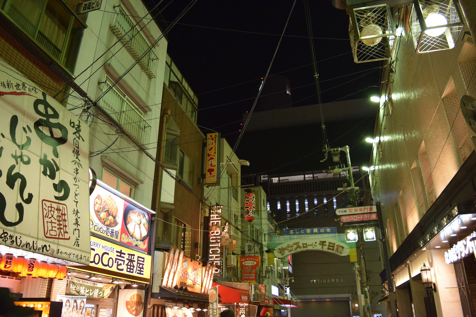neon, lanterns and shop signs in Namba at night