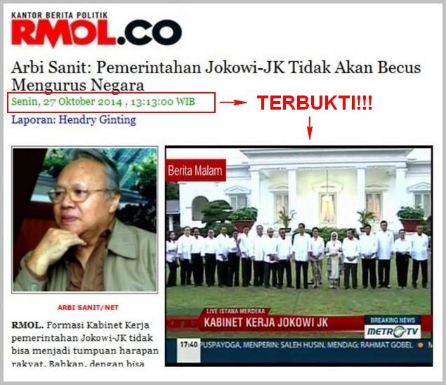 Prediksi Arbi Sanit Terbukti: Pemerintahan Jokowi-JK Tidak
