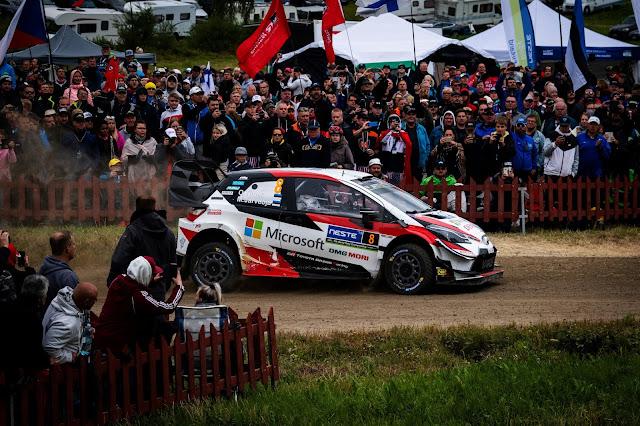 Ott Tanak in a Toyota Yaris World Rally Car (WRC) at Rally Finland