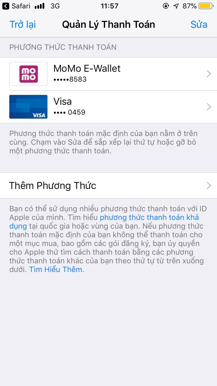 Hướng dẫn danh toán App store (Apple store) bằng ví Momo