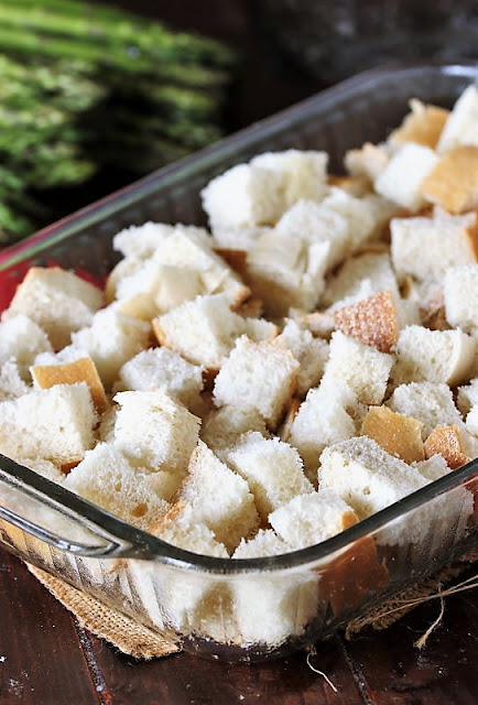 French Bread Cubes in Baking Dish Image
