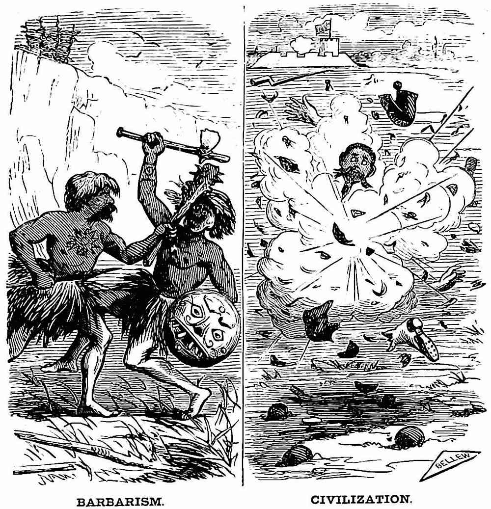 An 1870 cartoon about anti-war and civilization