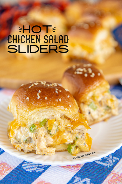 chicken salad sliders on a plate