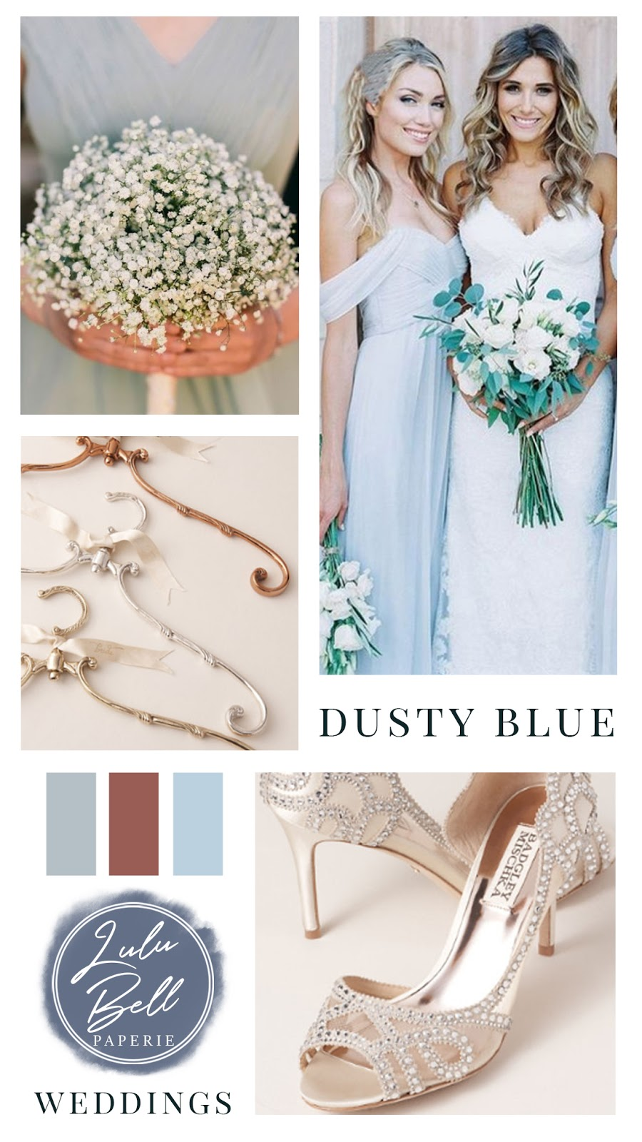 Dusty Blue Cinnamon and Navy Wedding Color Palette Inspiration - Bridesmaid Bouquets, Bridesmaid Dresses, Gown Hangers, and Beaded Bridal Shoes