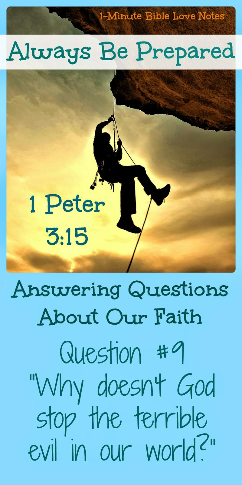 Questions about faith in God, why does God allow suffering? Why doesn't God stop evil