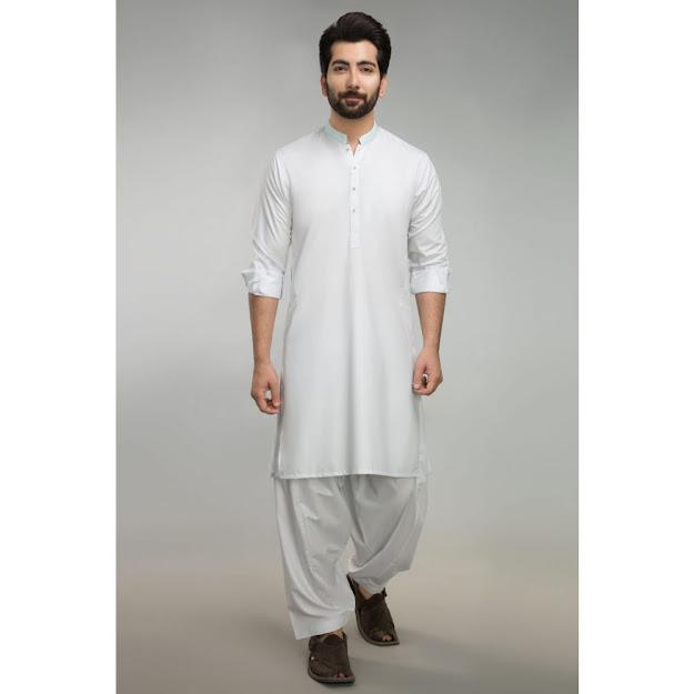 Gul Ahmed Men's Eid collectio White color shalwar kameez