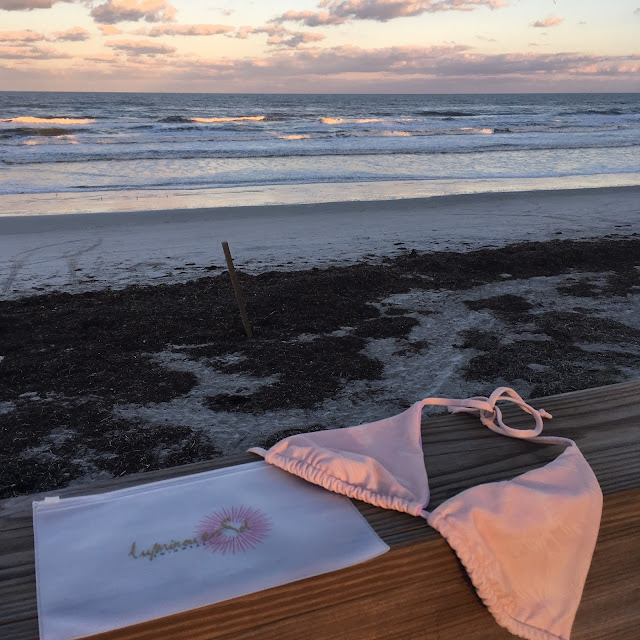reversible, eco-friendly, pink, lilac, cheeky, bikini, sporty, top, swimsuit, Luminous Sol, swimwear, Made in the USA, earth friendly, recycled fabrics, beach, shop, giveaway, sunset, sky, bikini bag, free, enter, win