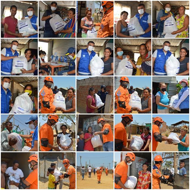 Entrega de ayudas en Riohacha por emergencia causada por pandemia de Covid 19