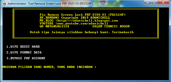 Tool Remove Screen Lock FRP VIVO V5 Plus (PD1624F)