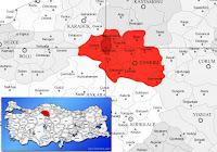 Atkaracalar ilçesinin nerede olduğunu gösteren harita