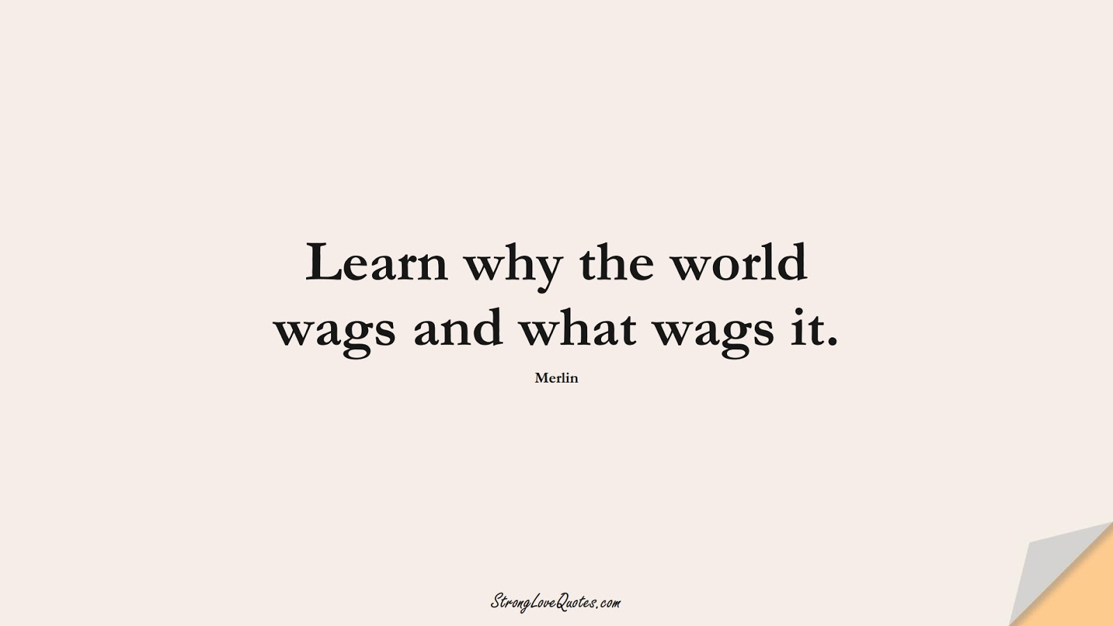 Learn why the world wags and what wags it. (Merlin);  #LearningQuotes