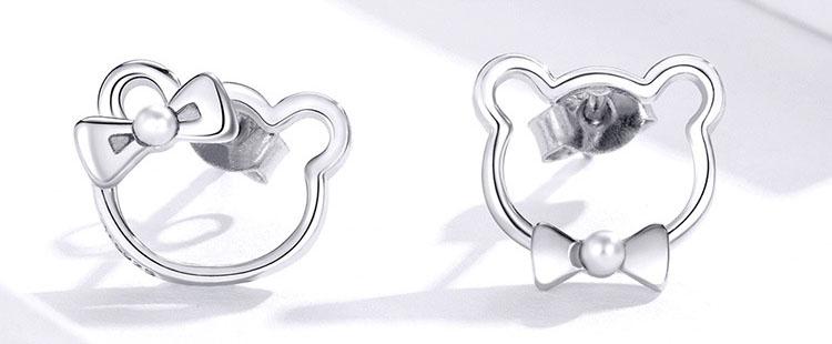 不對稱風紳士淑女熊 925純銀耳環