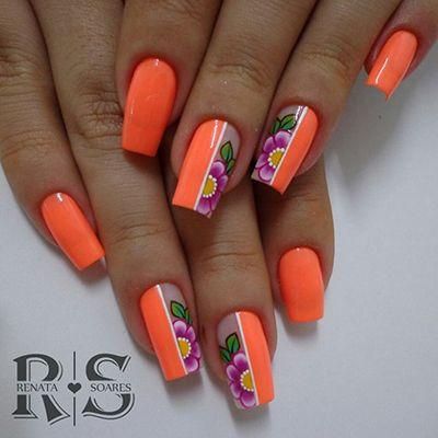 unhas decoradas laranja 1