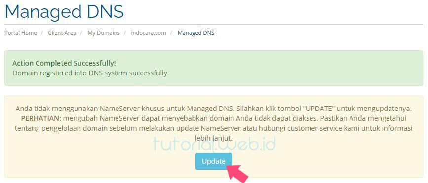 Cara Memverifikasi Kepemilikan Domain Rumahweb 5 Pilih Update