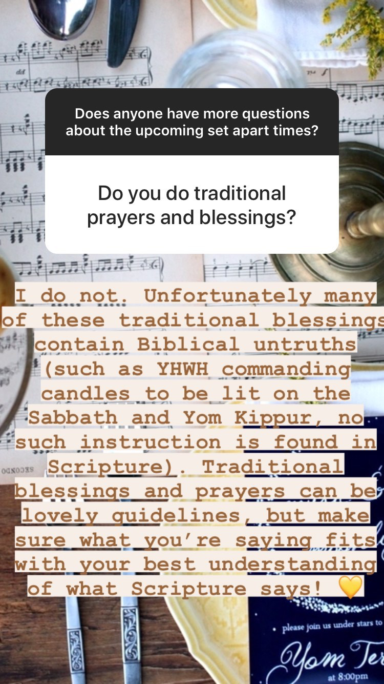 Questions and Answers about the Biblical Holidays of Tabernacles, Yom Teruah, and Yom Kippur - prayers and blessings | Land of Honey