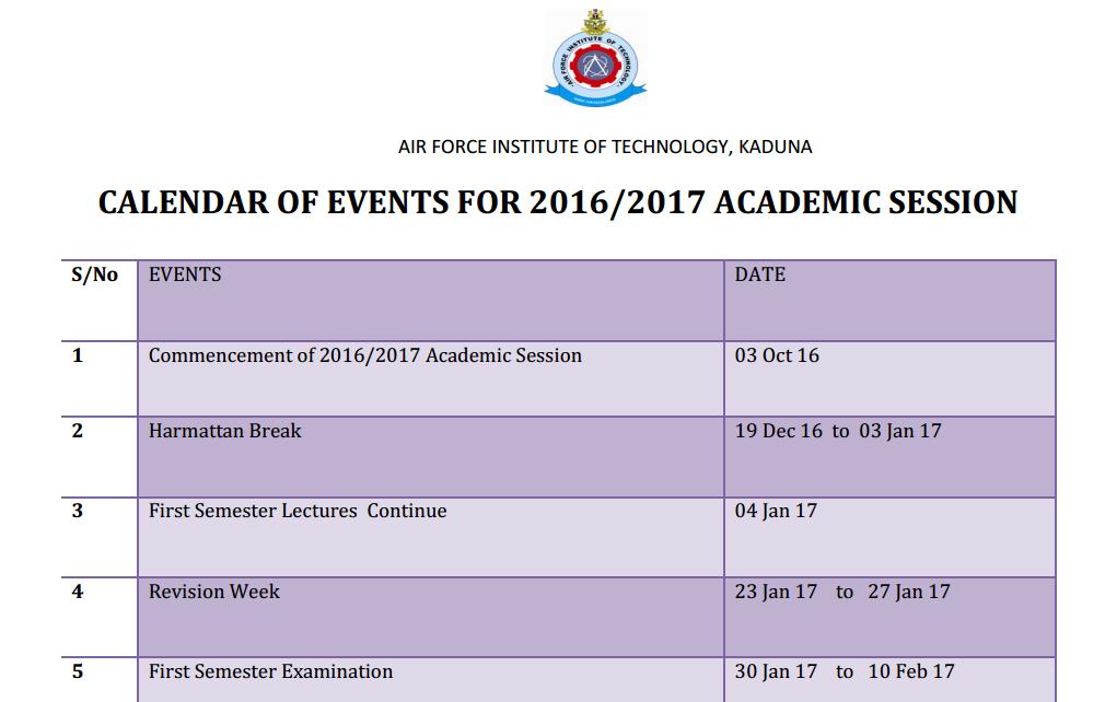 afit kaduna 2016 17 academic calendar schedule out