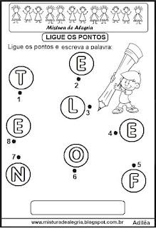 Ligando os pontos formando palavras