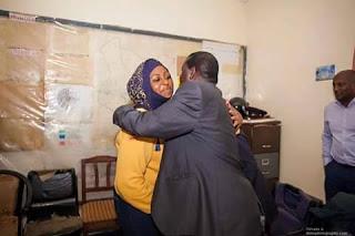 Hon Aisha Jumwa with the CORD and ODM leader Hon Raila Odinga. PHOTO Courtesy