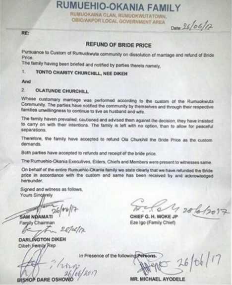 Tonto Dikeh bride price refund document