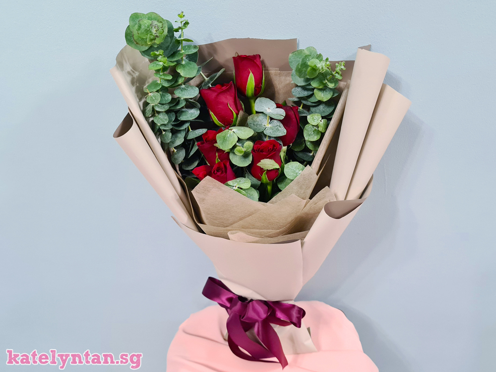 Rose and Eucalyptus flower bouquet from Little Flower Hut Singapore florist that is experienced and reputable
