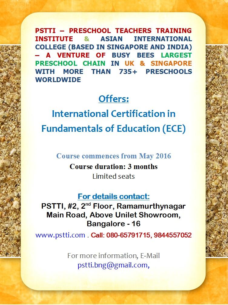 Pre School Teachers Training Institute Pstti April 2016