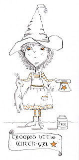 Whimsical Crooked Little Witch Girl Ink Drawing by Tawnya Boe