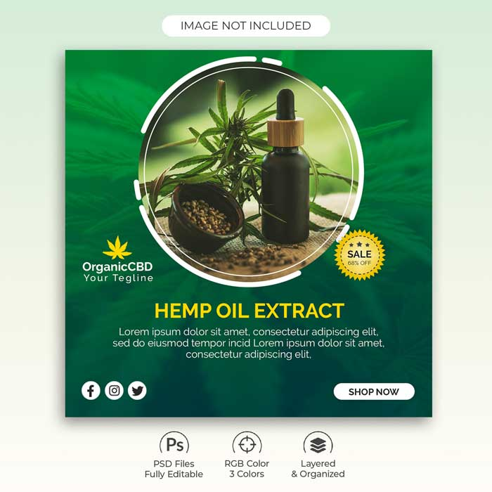 Hemp Oil Products Banner PSD Template