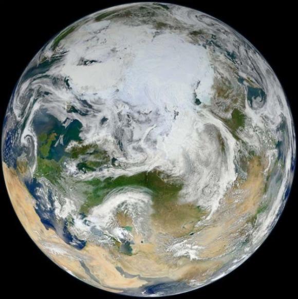 Nasa Divulga Foto da Terra Pelo Ângulo do Ártico