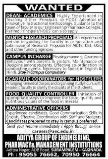 Aditya Surampalem Non Teaching Staff Jobs