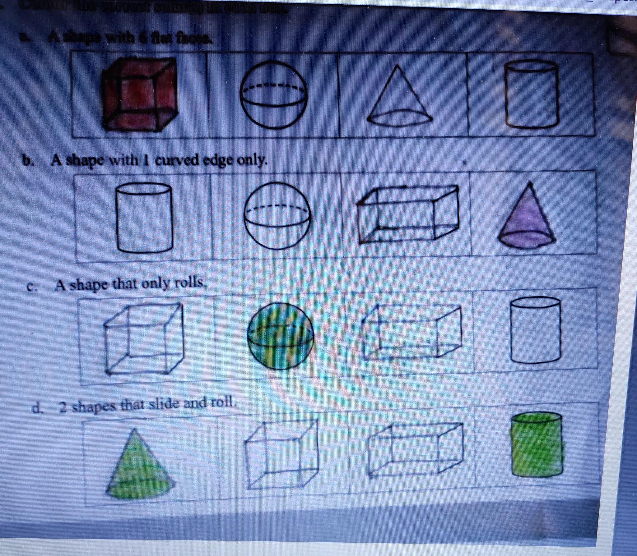 Math Ch 5 Shapes Workbook Work