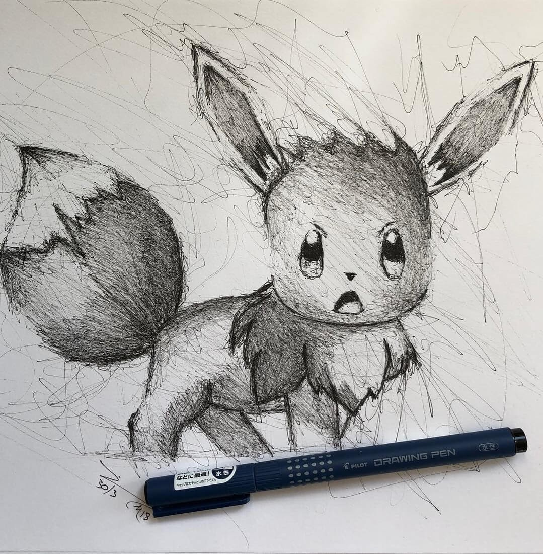 06-Pokemon-Eevee-Jimmy-Mätlik-Fantasy-Animal-drawings-form-the-Movies-www-designstack-co