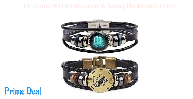 35%OFF 2pcs 12 Zodiac Constellation Beaded Hand Woven Leather Bracelet Braided Punk Chain Cuff