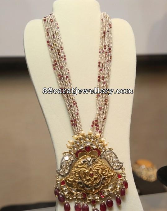 Small Pearls Haram with Polki Pendant