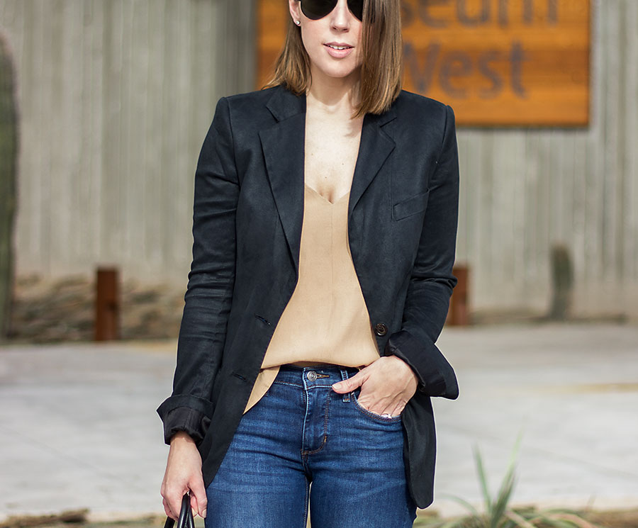 Tan Tank Top, Closet Staples for women, suede blazer, black suede blazer, black blazer for women, business casual outfit, basic tank tops, how to style a blazer, how to casually style a blazer, high rise skinny jeans, nude tank top, BP tank top, Nordstrom tank top, tank tops from Nordstrom