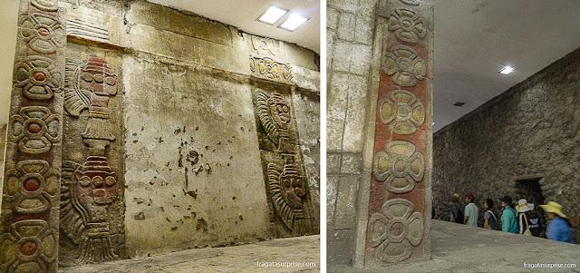 Interior de um templo de Teotihuacán, México