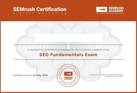 شهادة أساسيات السيو SEO Fundamentals