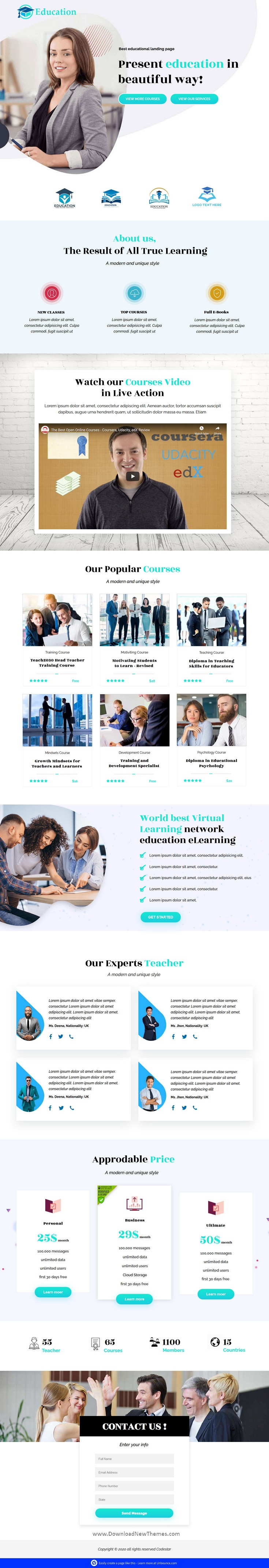 Educational Unbounce Landing Page Template