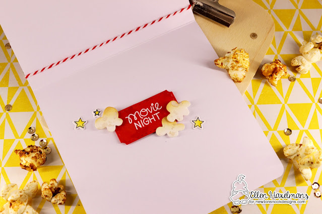 Movie Night card & popcorn box by Ellen Haxelmans | Newton's Movie Night Stamp Set and various die sets by Newton's Nook Designs #newtonsnook