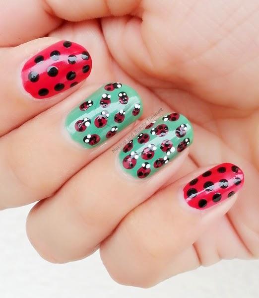 Makeup And Beauty Treasure: Ladybug Nail Art Tutorial With
